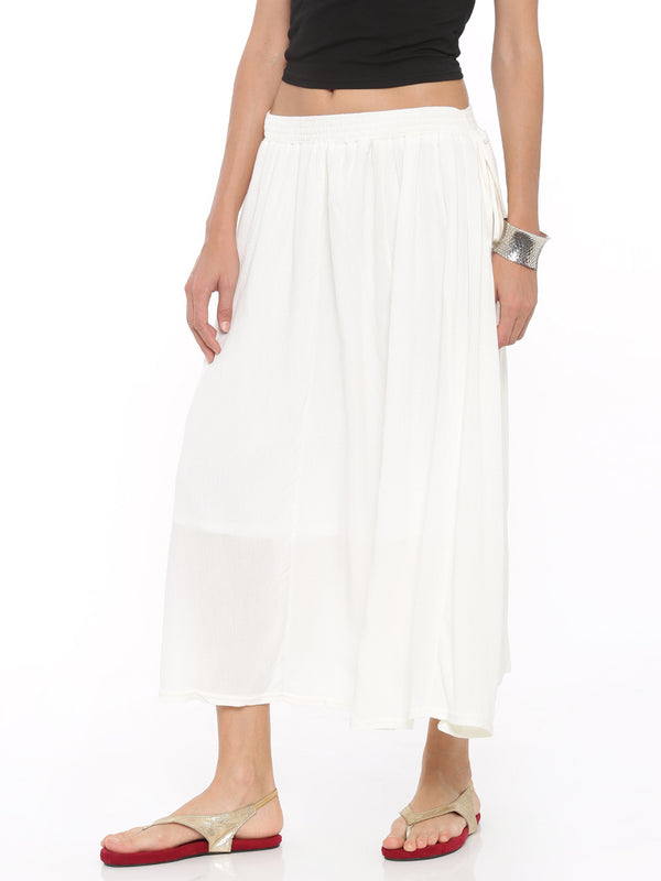 De Moza Women's Rayon Crepe Skirt Off White - De Moza