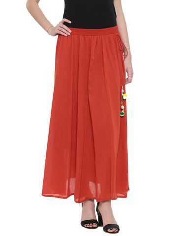 De Moza Women's Rayon Crepe Skirt - Rust Orange