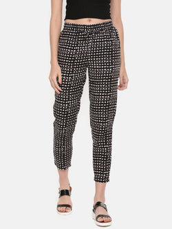 De Moza- Ladies Black Printed Straight Pant - De Moza
