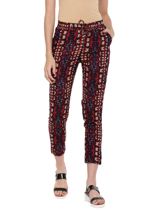De Moza Ladies Indigo Blue Printed Straight Pant - Indigo Blue Printed Straight Pant for Ladies - De Moza