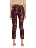 De Moza Ladies Indigo Blue Printed Straight Pant - Indigo Blue Printed Straight Pant for Ladies
