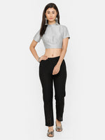 De Moza Women's Straight Pant Solid Cotton Black - De Moza
