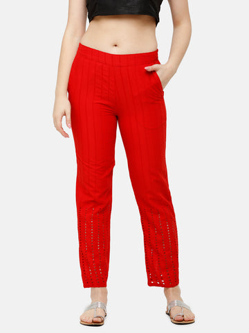 De Moza Women's Straight Pant Woven Bottom Solid Cotton Red - De Moza
