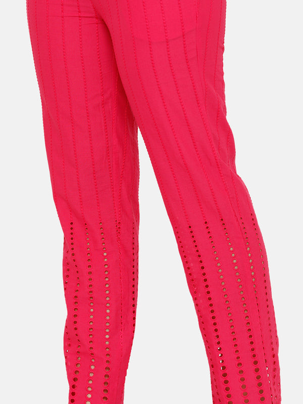 De Moza women's Straight Pant Woven Bottom Solid Cotton Fuchsia - De Moza