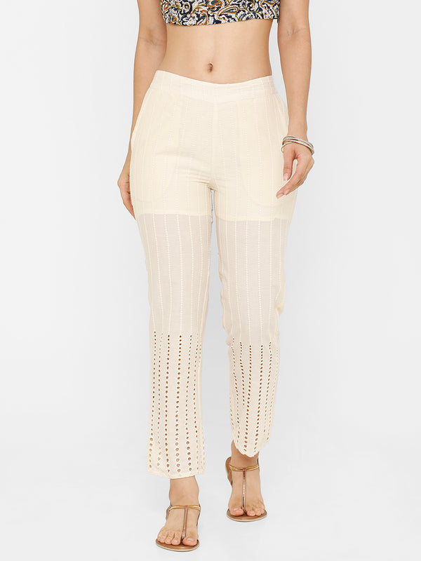 De Moza women's Straight Pant Woven Bottom Solid Cotton Natural - De Moza
