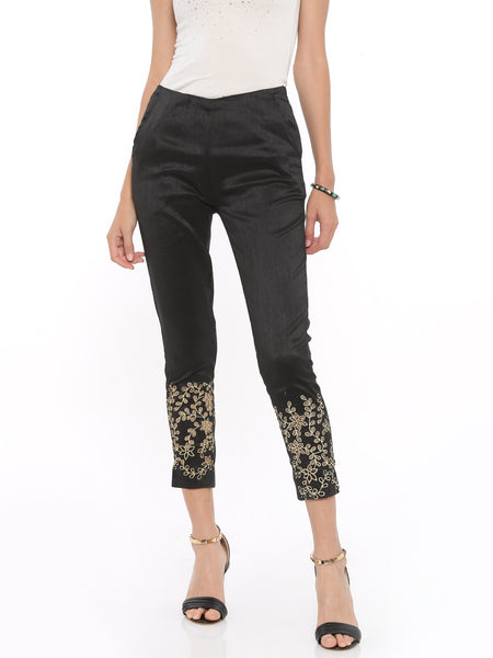 De Moza Ladies Straight Pant Woven Bottom Black