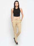 De Moza Ladies Trouser Rayon Solid Straight Pant Skin