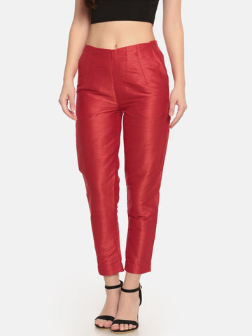 De Moza- Women Red Straight Fit Solid Trouser - De Moza