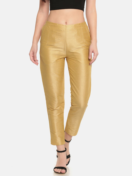 De Moza Golden Textured Regular Fit Coloured Pants - De Moza