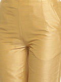De Moza -Women Gold Toned Straight Fit Trousers - De Moza