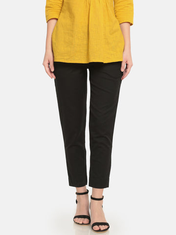 De Moza Ladies Woven Straight Pant Black - De Moza