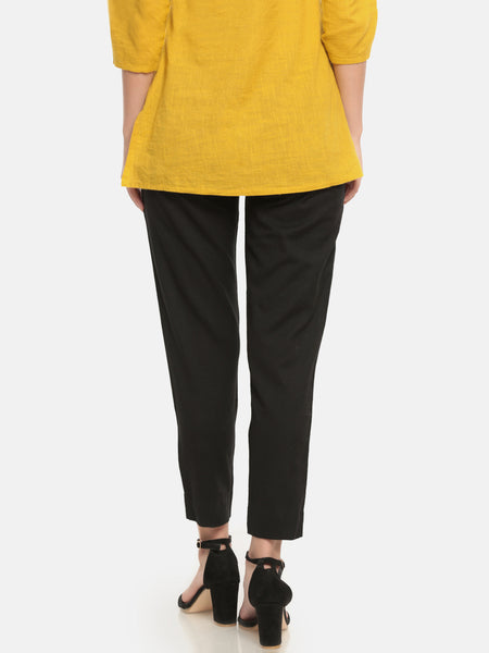 De Moza Ladies Woven Trouser Cotton Flex Solid Straight Pant Black
