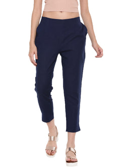 De Moza Ladies Straight Pant Dark Navy Blue - De Moza