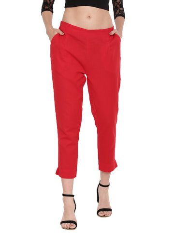 De Moza Ladies Solid Red Straight Pant - De Moza