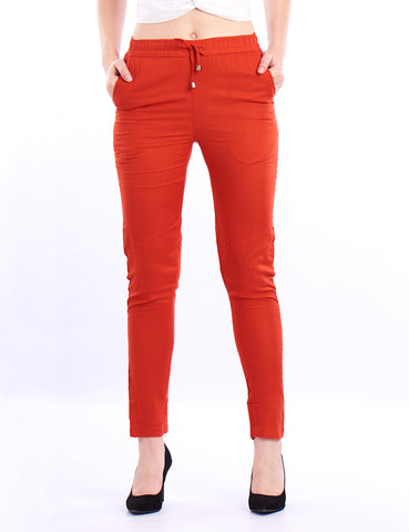 De Moza Ladies Straight Pant Rust Orange - De Moza