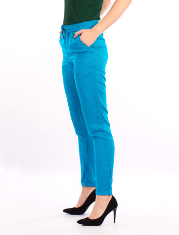De Moza Ladies  Solid Straight Pant Teal - De Moza