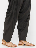 De Moza Women's Salwar Pant Woven Solid Cotton Dark Grey - De Moza