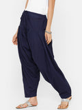 De Moza Women's Salwar Pant Woven Solid Cotton Navy Blue - De Moza