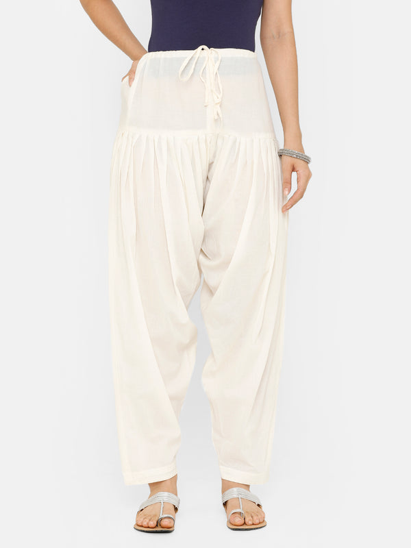 De Moza Women's Salwar Pant Woven Solid Cotton Off white - De Moza