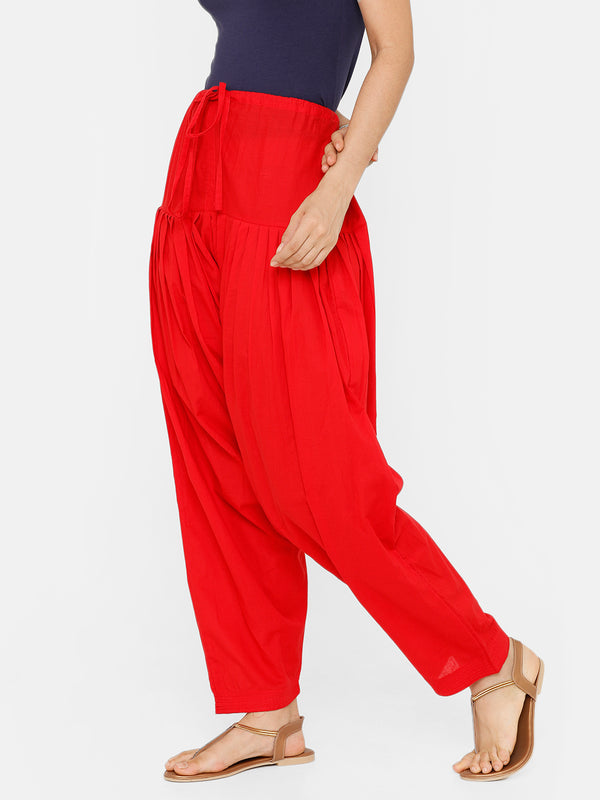 De Moza Women's Salwar Pant Woven Solid Cotton Red - De Moza