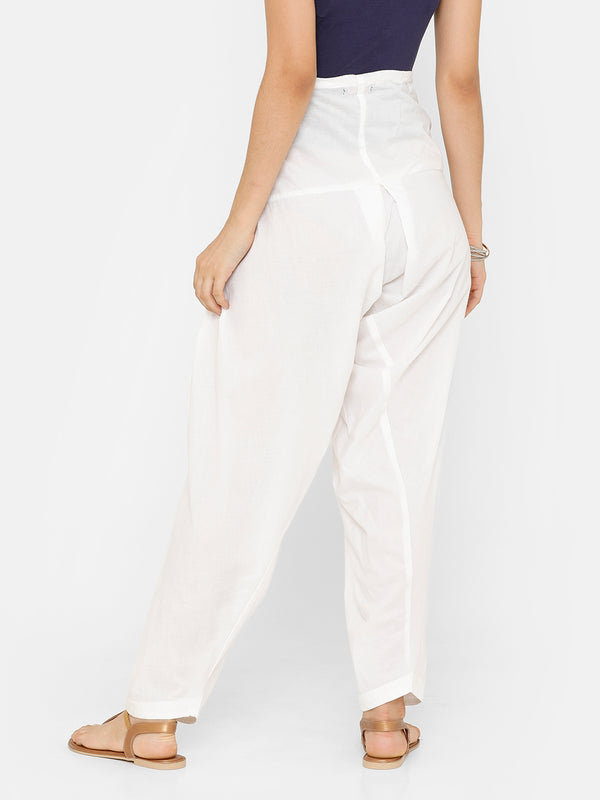 De Moza Women's Salwar Pant Woven Solid Cotton White - De Moza