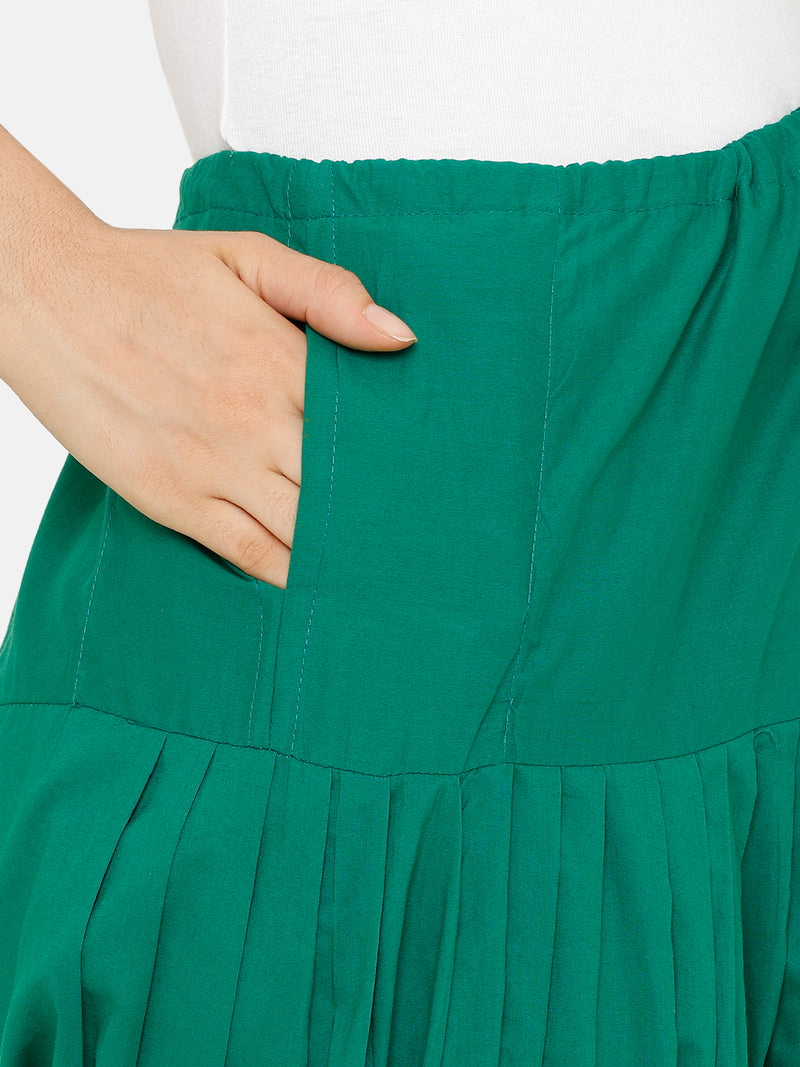 De Moza Women's Salwar Pant Woven Solid Cotton Green - De Moza