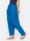 De Moza Women's Salwar Pant Woven Solid Cotton Light Blue - De Moza