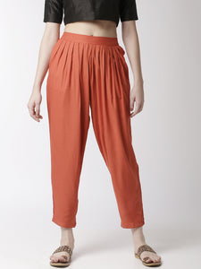 De Moza Women's Salwar Pant Woven Bottom Solid Rayon Rust Orange - De Moza