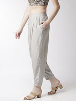 De Moza Women's Salwar Pant Woven Bottom Solid Rayon Light Grey - De Moza