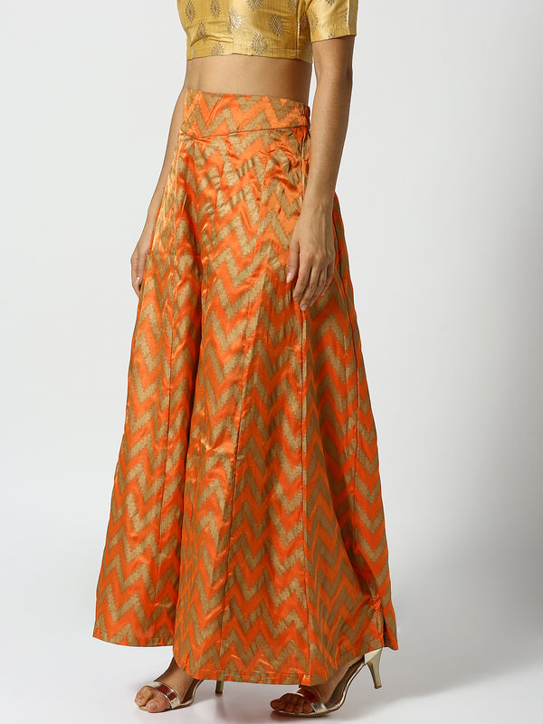 De Moza Ladies Orange Printed Palazzo Pant - De Moza