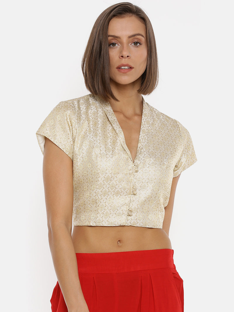 De Moza Ladies Jacquard Silver Crop Top - De Moza