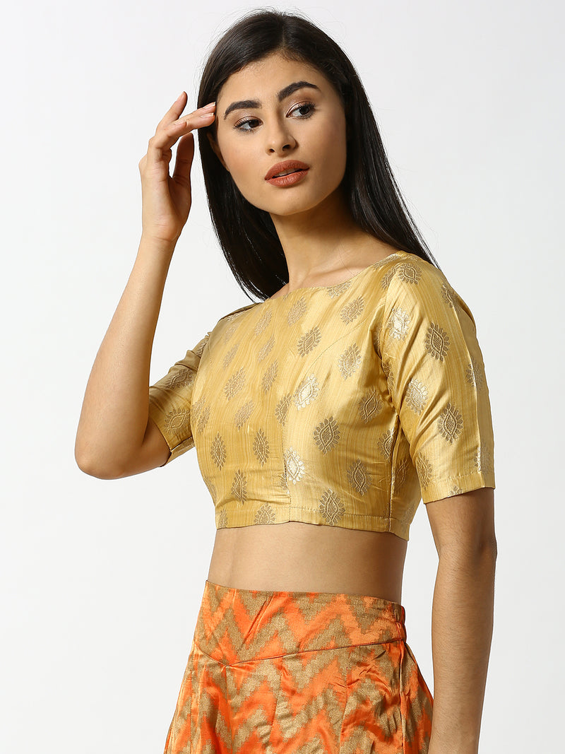 De Moza Ladies Gold Printed Crop Top - De Moza
