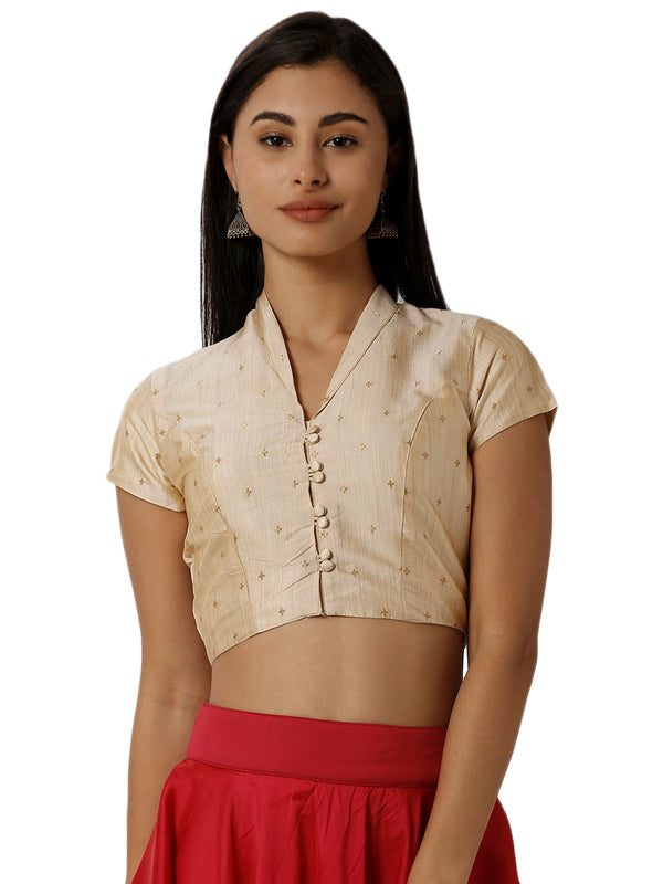 De Moza Ladies Embroidered Gold Crop Top - De Moza