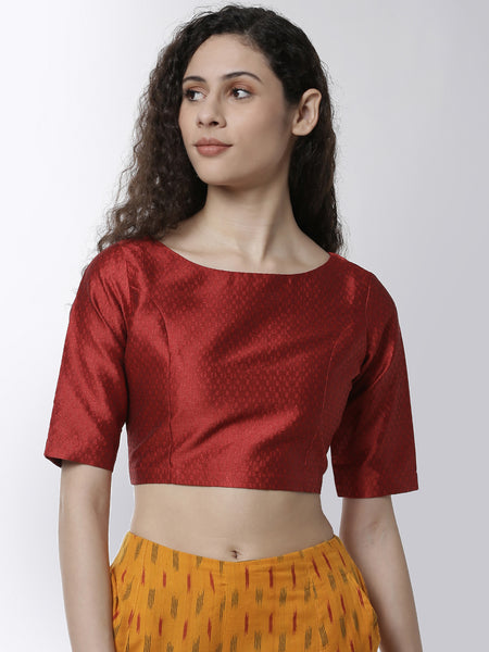 De Moza Women's HS Crop Woven Top Jaquard Polyester Red - De Moza