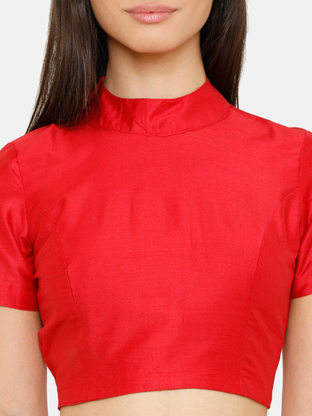 De Moza Women Half Sleeve Crop Woven Top Solid Polyester Red - De Moza
