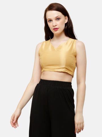 De Moza Women's HS Crop Woven Top Solid Polyester Gold - De Moza