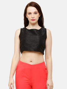 De Moza Women's Crop Top Woven Top Solid Polyester Black - De Moza