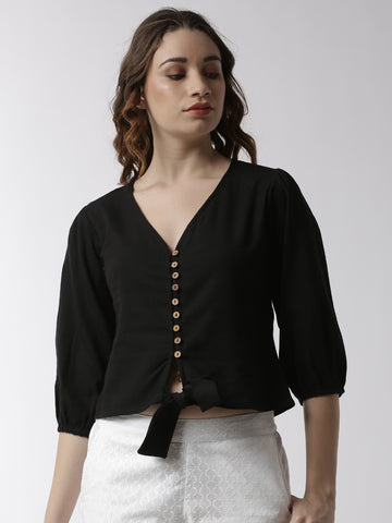 De Moza Women's Shirt Woven Top Solid Cotton Black - De Moza