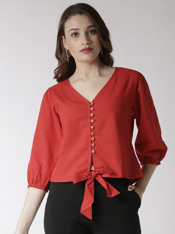 De Moza Women's Shirt Woven Top Solid Cotton Red - De Moza