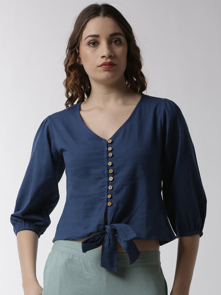 De Moza Women's Shirt Woven Top Solid Cotton Indigo Blue - De Moza