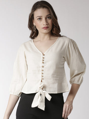 De Moza Women's Shirt Woven Top Solid Cotton Natural - De Moza