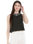 De Moza Ladies Embroidered Sleeveless Crop Top Black - De Moza