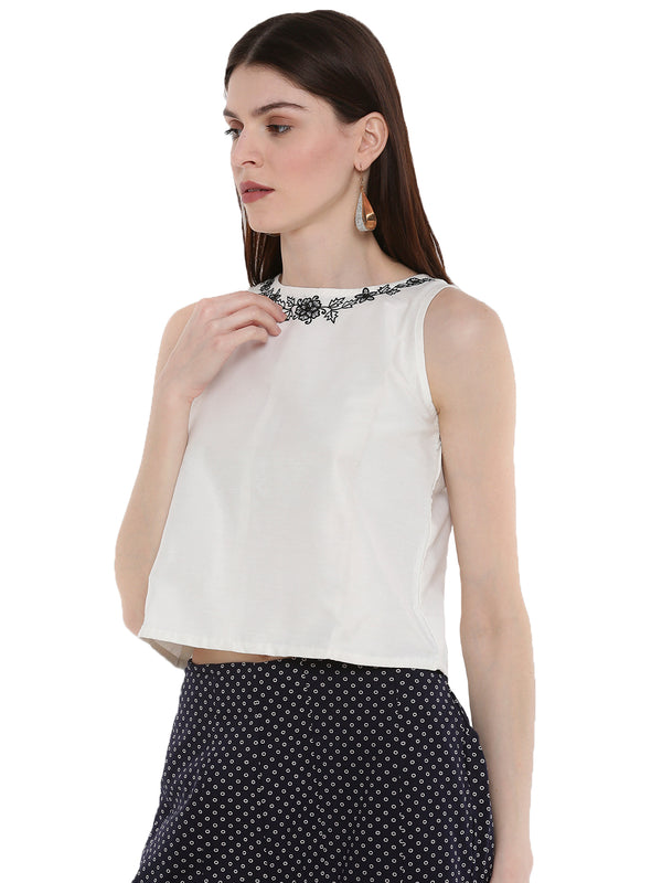 De Moza Ladies Embroidered Sleeveless Crop Top OffWhite - De Moza