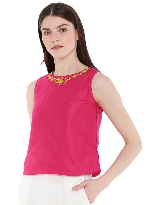 De Moza Ladies Embroidered Sleeveless Crop Top Fuchsia - De Moza