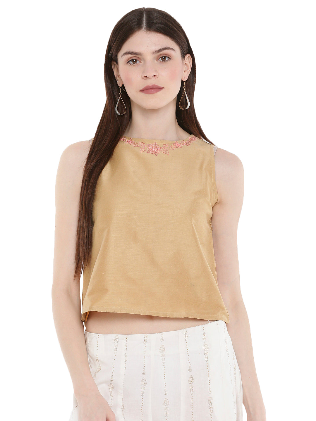 De Moza Ladies Embroidered Sleeveless Crop Top Gold - De Moza