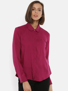 De Moza Women's Full Sleeve Shirt Woven Top Solid Rayon Magenta - De Moza