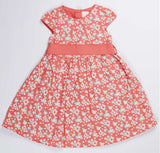 De Moza Girls 100% Cotton Satin Butterfly Printed Dress Cap sleeve Pink - De Moza