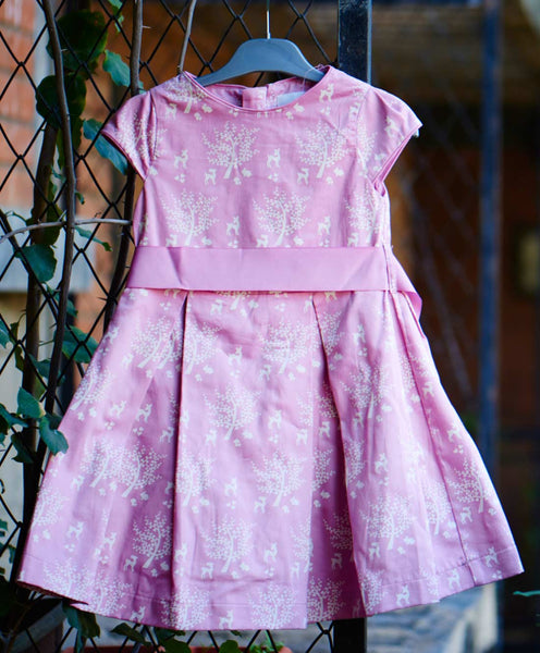 De Moza Girls 100% Cotton Satin Printed Pleated Dress Cap sleeve Salmon Rose - De Moza