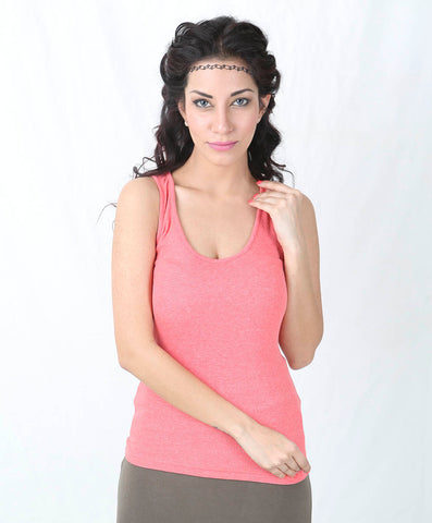 De Moza Ladies Knit Top Razor Back 64% Polyester-34% Cotton-2% Elastane Plain Coral Pink - De Moza