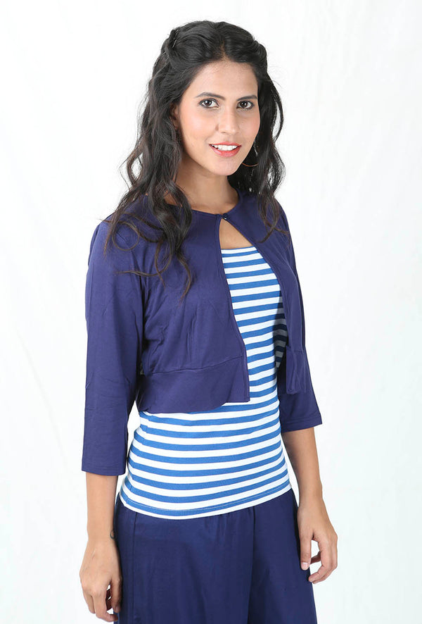 De Moza Ladies Short Shrug Navy Blue - De Moza